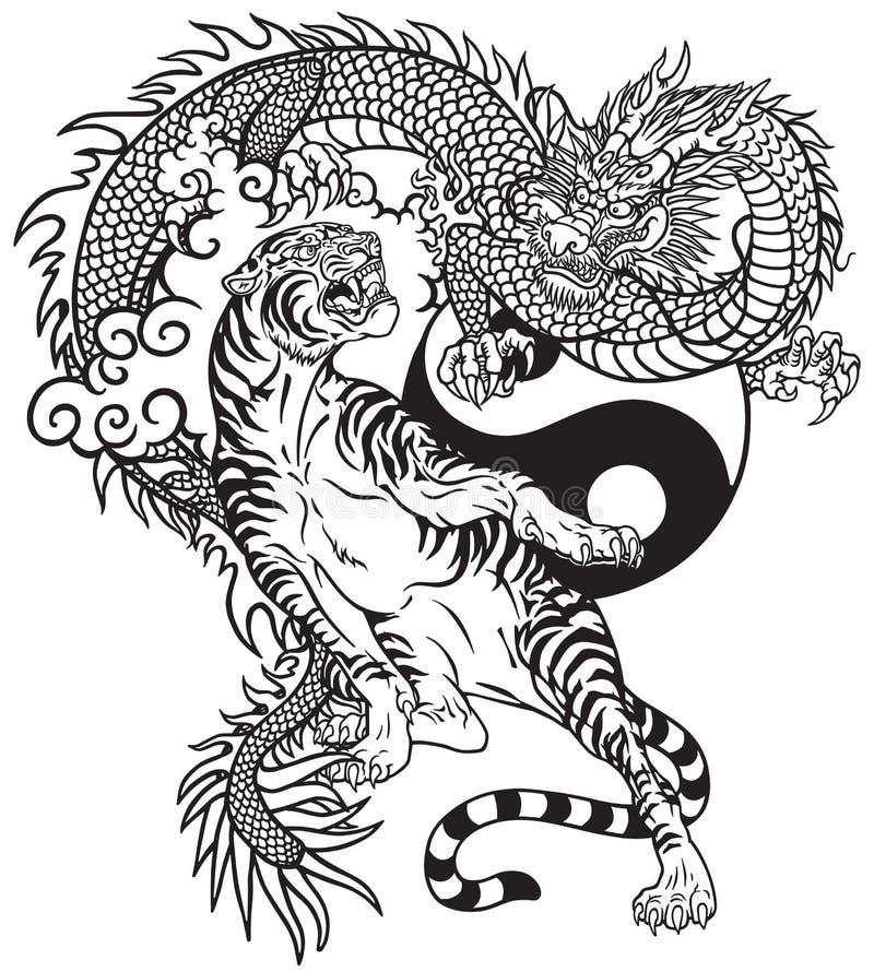 Svartvit tatuering för kinesisk för drake tiger kontra stock illustrationer