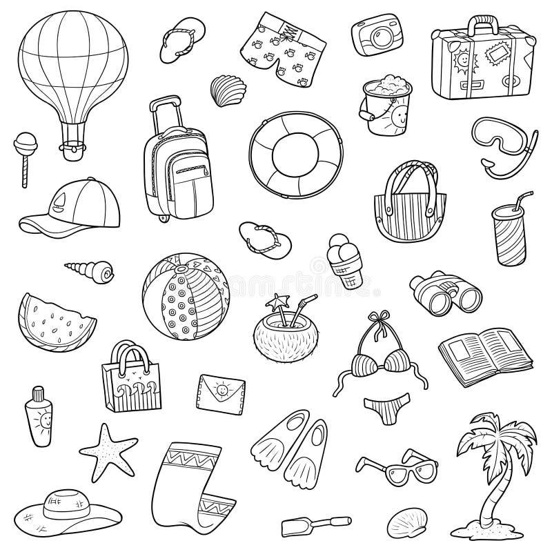 Svartvit tecknad filmuppsättning av sommarobjekt stock illustrationer