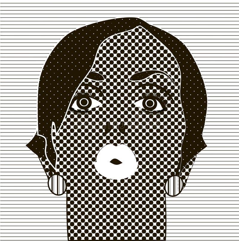 Svartvit teckning flickans framsida stock illustrationer