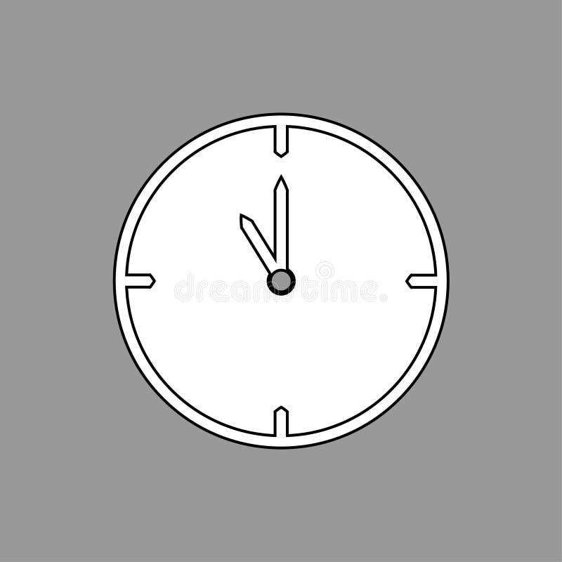 Svartvit tunn linje klockasymbol 11 klockan på grå bakgrund - vektorillustration royaltyfri illustrationer