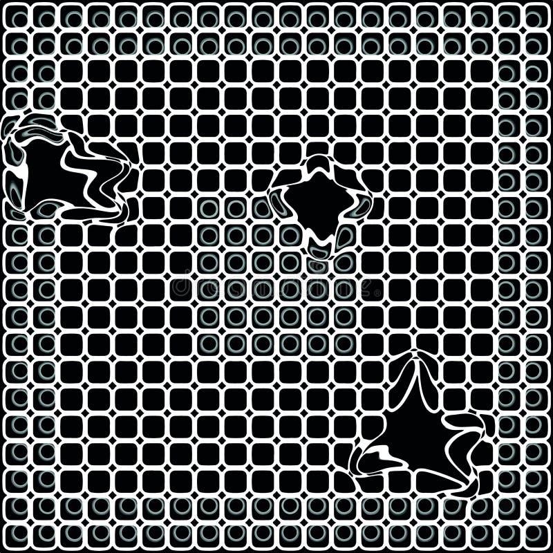 Svartvit unik modell Brutet ingrepp på en bild stock illustrationer