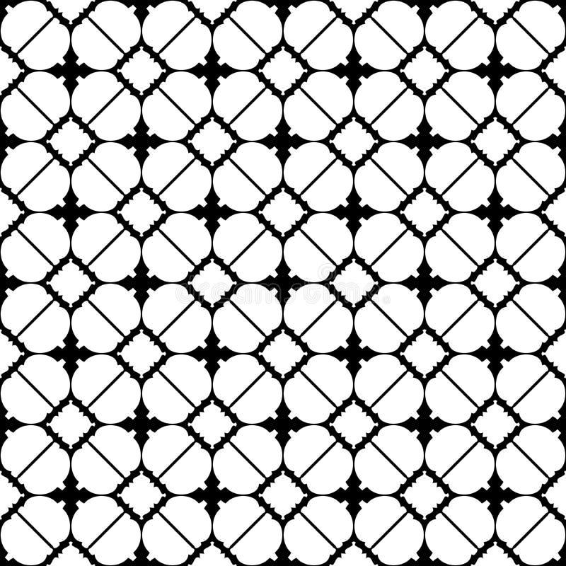 Svartvit upprepad vektor för abstrakt geometrisk sömlös modell Design royaltyfri illustrationer