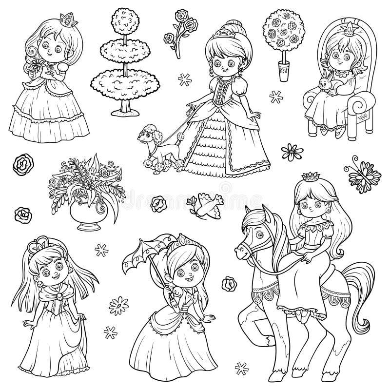 Svartvit uppsättning av prinsessan stock illustrationer