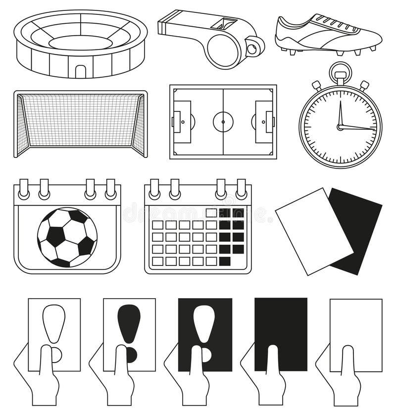 svartvit uppsättning för 14 fotbollbeståndsdelar royaltyfri illustrationer
