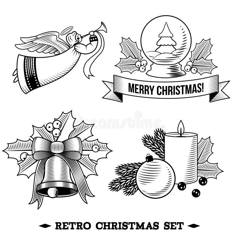 Svartvit uppsättning för julsymboler vektor illustrationer