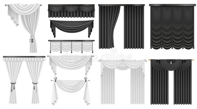 Svartvit uppsättning för för sammetsilkegardiner och gardiner Inre realistisk lyxig gardingarneringdesign vektor illustrationer