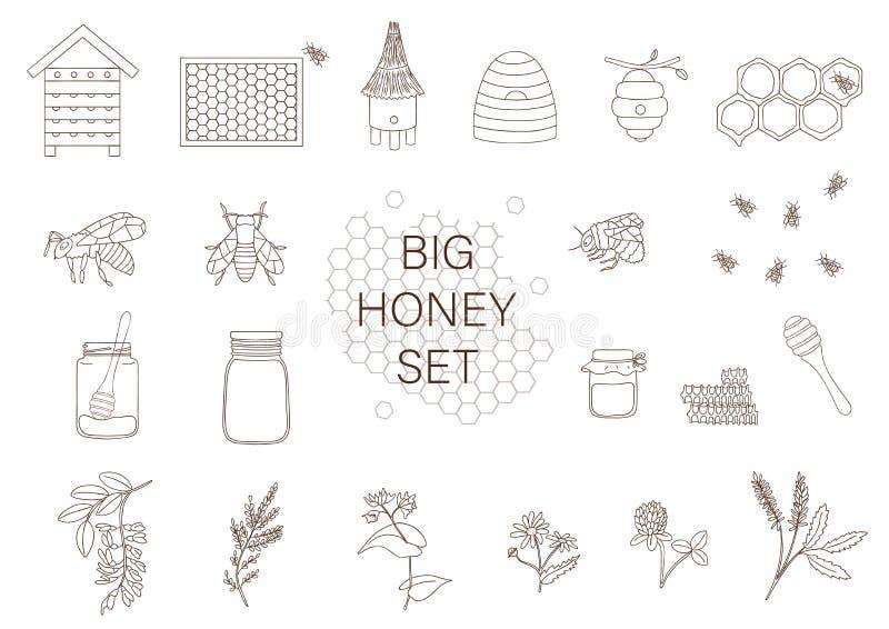 Svartvit uppsättning för vektor av honung, bi, humla, bikupa, geting royaltyfri illustrationer