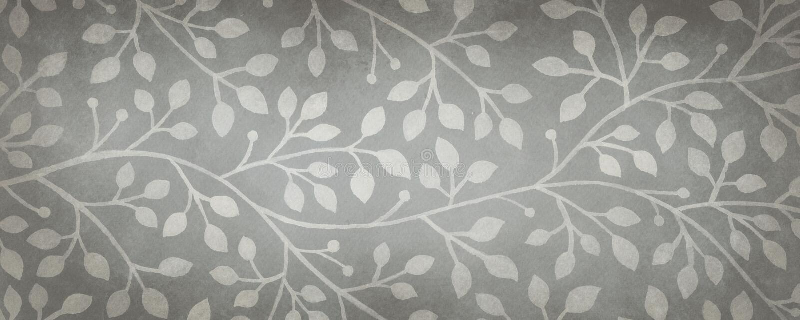 Svartvit utsmyckad murgröna- eller vinrankabakgrund, grå färg räcker den utdragna naturillustrationen royaltyfri illustrationer