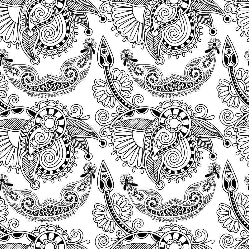 Svartvit utsmyckad sömlös blomma paisley stock illustrationer