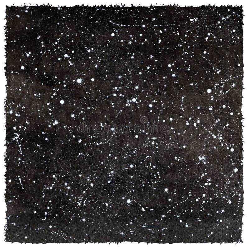 Svartvit vattenfärgnatthimmel med stjärnor och grova kanter royaltyfri illustrationer