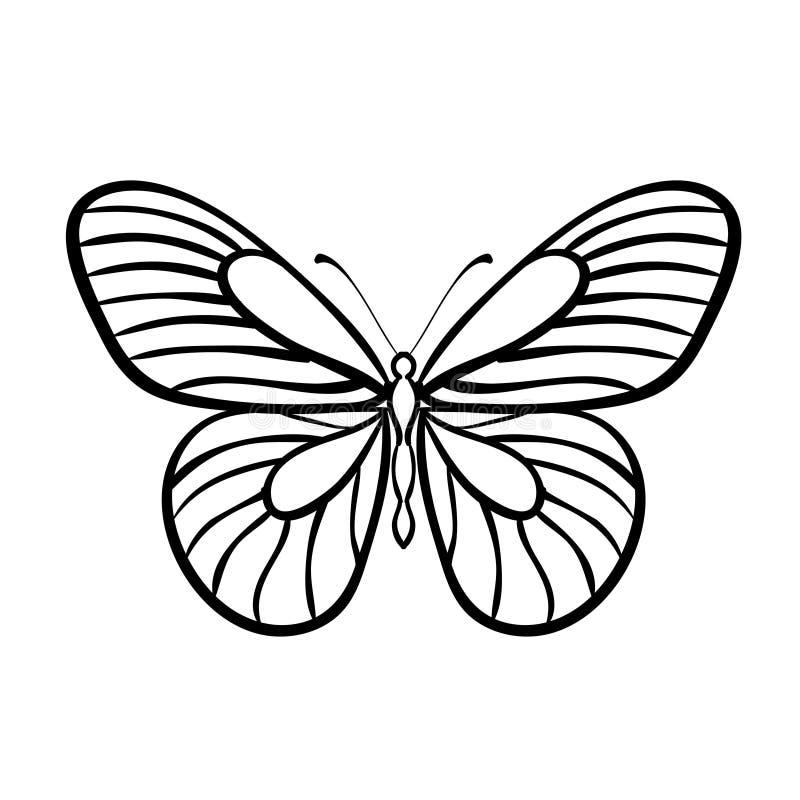 Svartvit vektor för fjäril stock illustrationer