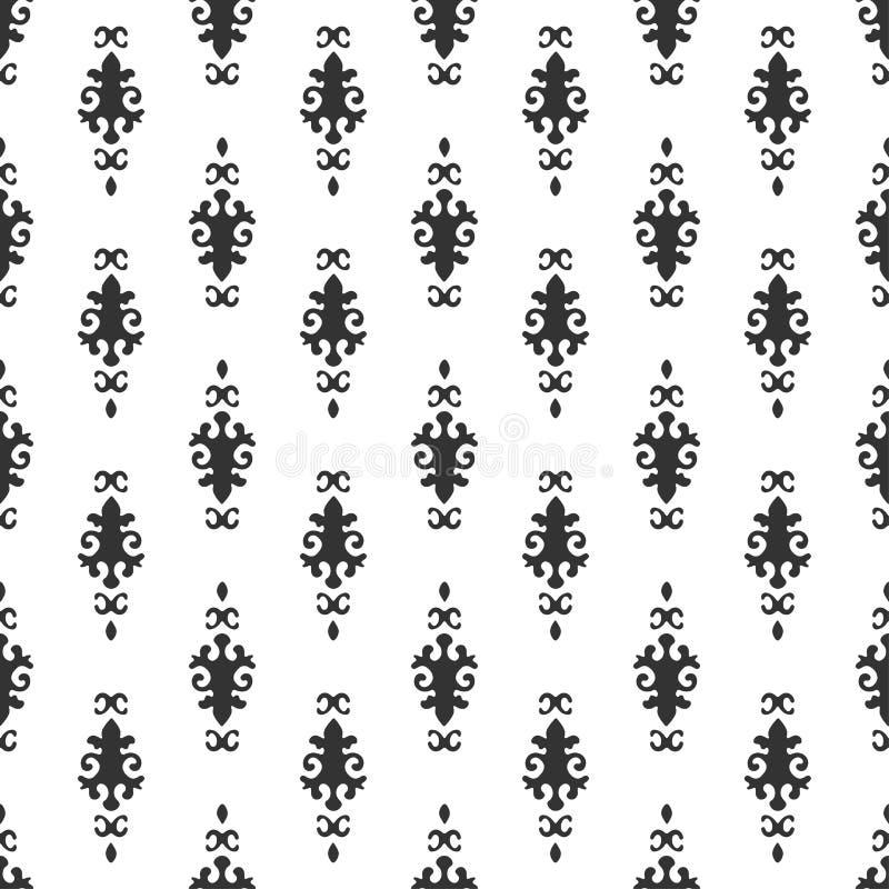 Svartvit vektorbakgrund Sömlös modell för härlig drottning med fleur de lys prydnadbeståndsdelar Kungligt undertecknar in stil av stock illustrationer