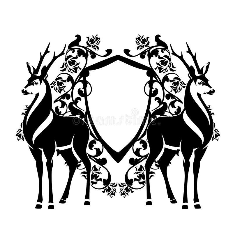 Svartvit vektordesign för hjortar och för heraldisk sköld vektor illustrationer