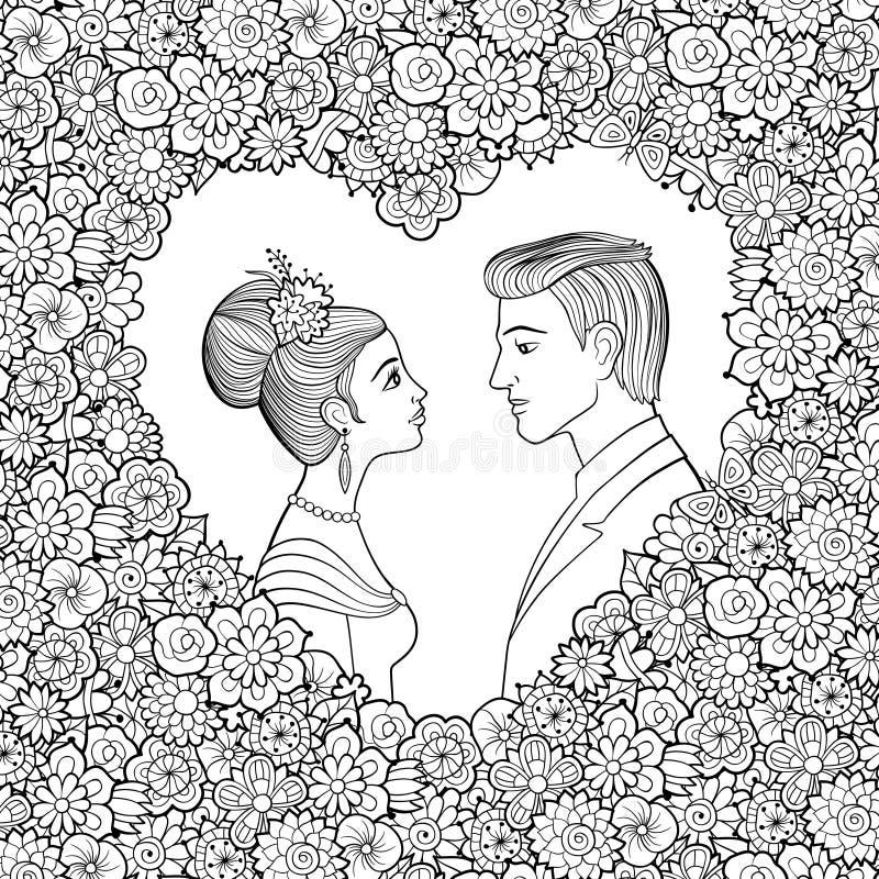 Svartvit vektorillustration av barnpar Man och kvinna som till varandra ser i dekorativ hjärta-formad blom- ram stock illustrationer