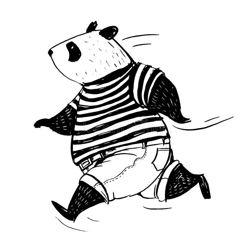 Svartvit vektorillustration Körande panda i t-skjorta och jeans stock illustrationer