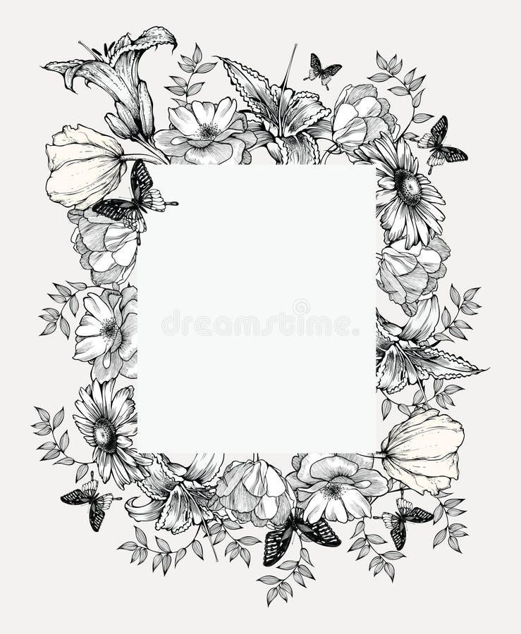 Svartvit vektorillustration tappning för vektor för blommaramillustration stock illustrationer