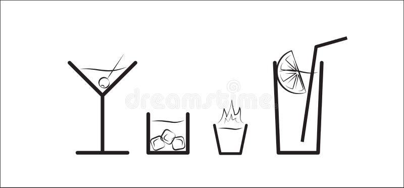 Svartvit vektorkonturuppsättning av olika drinkar arkivbilder