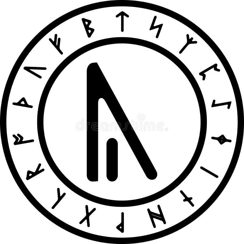 Svartvit version av års-runan stock illustrationer