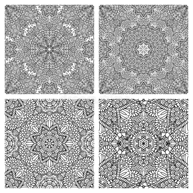 Svartvita abstrakta sömlösa modeller vektor illustrationer