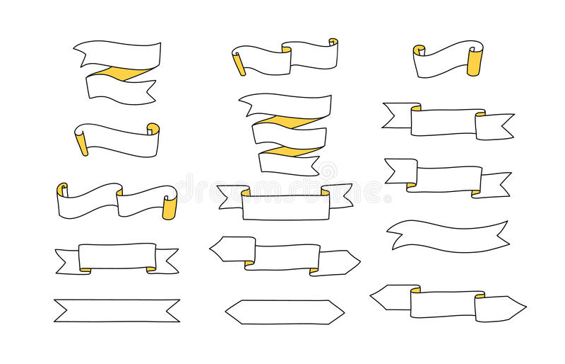 Svartvita bandbaner uppsättning, vektor stock illustrationer