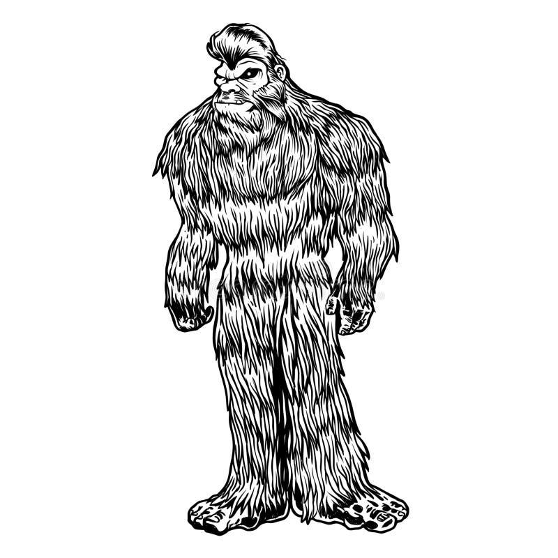 Svartvita Bigfoot royaltyfri illustrationer