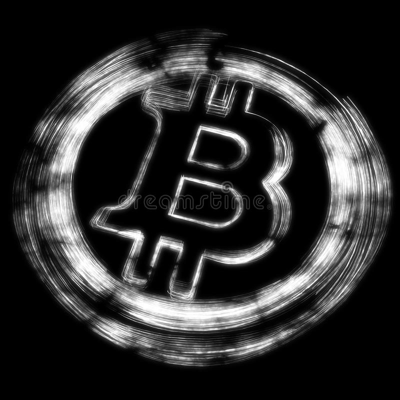 Svartvita Bitcoin, luminencesvart tavlastil stock illustrationer