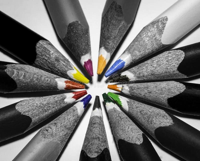 Svartvita blyertspennor arkivfoton