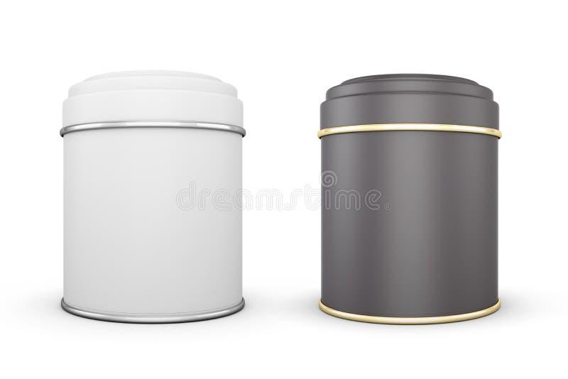 Svartvita cans av te på en vit royaltyfri illustrationer