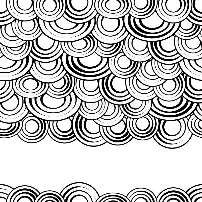 Svartvita cirklar sömlös modell, vektorbakgrund Monokromabstrakt begrepp fördunklar med mellanrum, idérikt stilfullt stock illustrationer