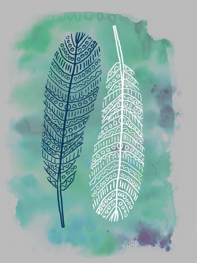 Svartvita dekorativa fjädrar som isoleras på den gröna turkosvattenfärgfläcken Stam- konst, person som tillhör en etnisk minorite stock illustrationer