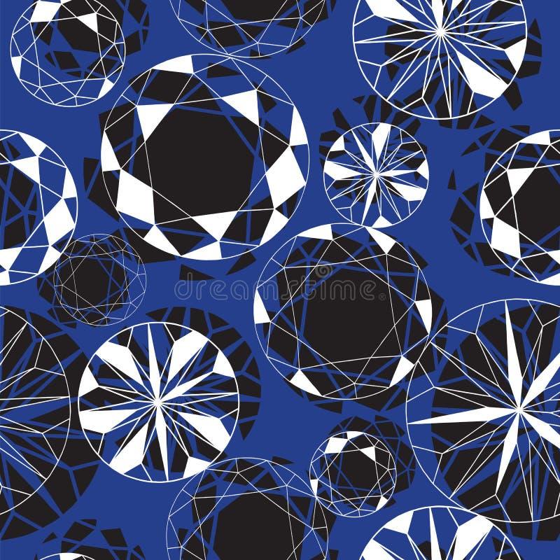 Svartvita Diamond Seamless Pattern på blått stock illustrationer