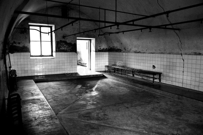 Svartvita duschar på den Terezin koncentrationslägerTjeckien arkivbilder