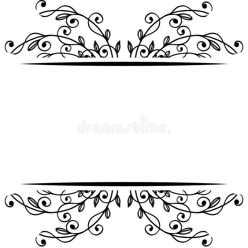 Svartvita eleganta sidor och blommor, olikt modellkort vektor vektor illustrationer