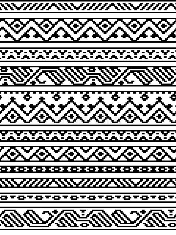 Svartvita etniska geometriska aztec sömlösa gränser modell, vektor vektor illustrationer
