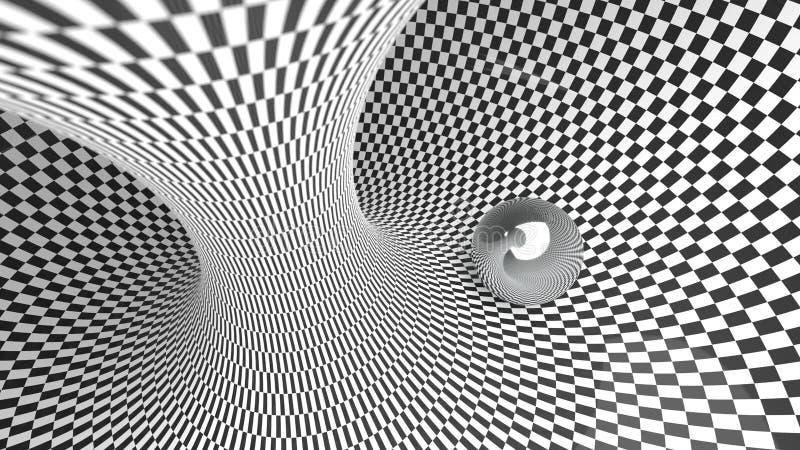 Svartvita färger för abstrakt bakgrund för kontrollör krökt geometrisk med illustrationen för reflexionsmetallboll 3d vektor illustrationer