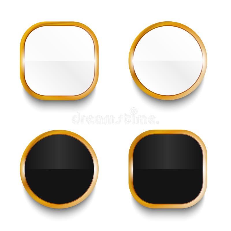 Svartvita glansiga knappar med guld- beståndsdelar som isoleras på vit bakgrund royaltyfri illustrationer