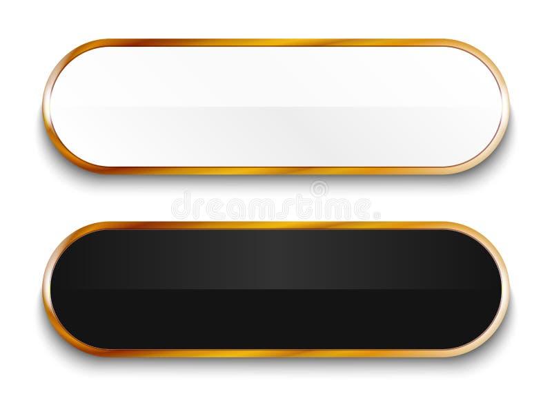 Svartvita glansiga knappar med guld- beståndsdelar som isoleras på vit bakgrund vektor illustrationer