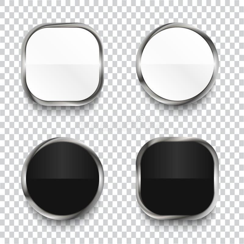 Svartvita glansiga knappar som isoleras på genomskinlig bakgrund vektor illustrationer