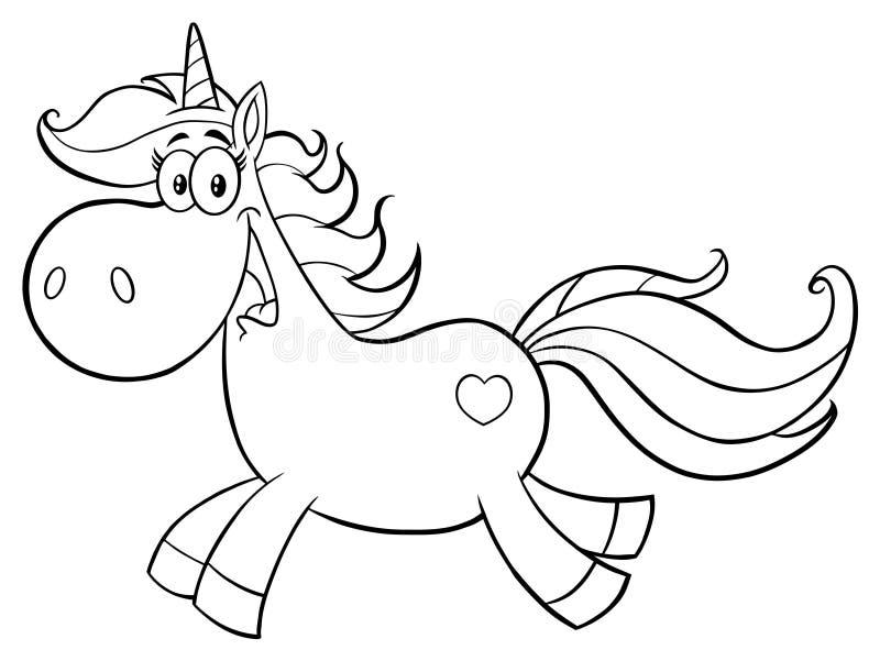 Svartvita gulliga magiska Unicorn Cartoon Mascot Character Running vektor illustrationer