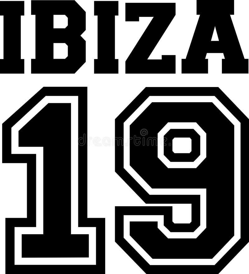 Svartvita Ibiza 19 stock illustrationer