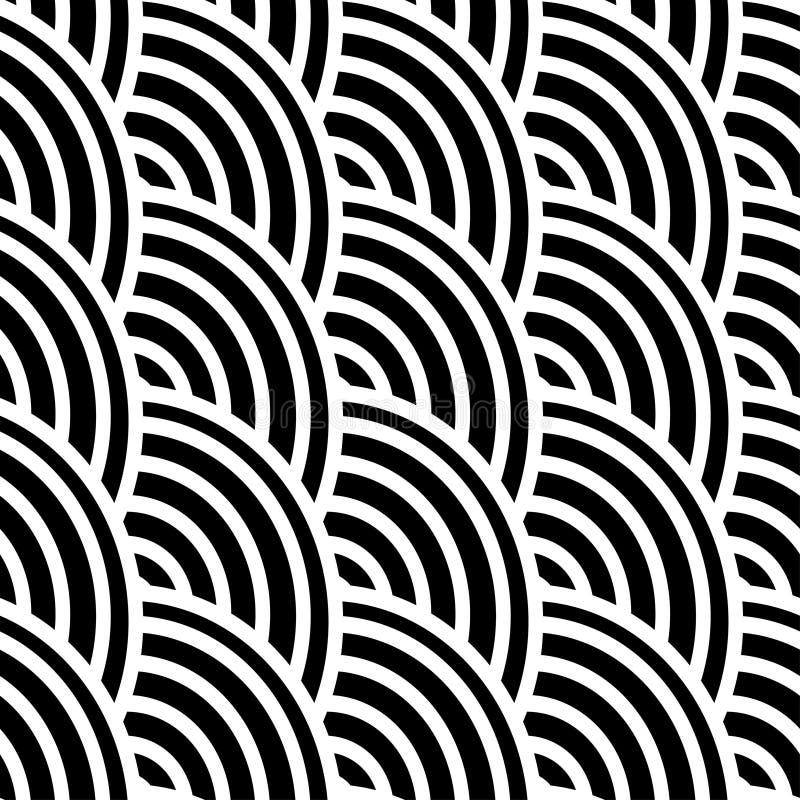 Svartvita krökta linjer i en sömlös modell royaltyfri illustrationer