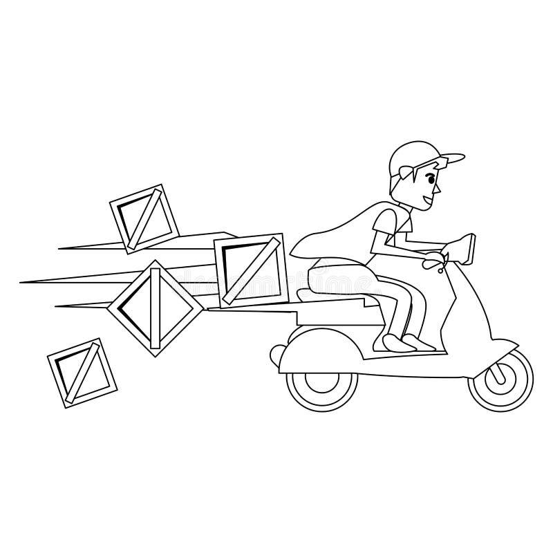 Svartvita leverans och logistik royaltyfri illustrationer