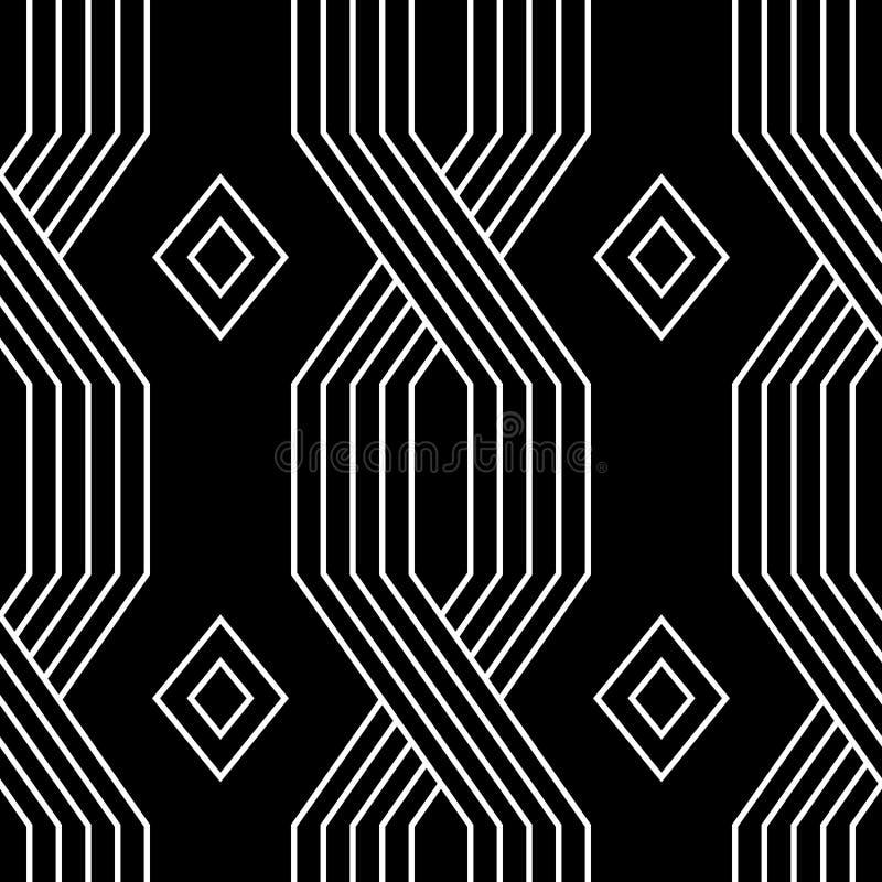 Svartvita linjer enkel sömlös modell för geometrisk art décostil, vektor royaltyfri illustrationer