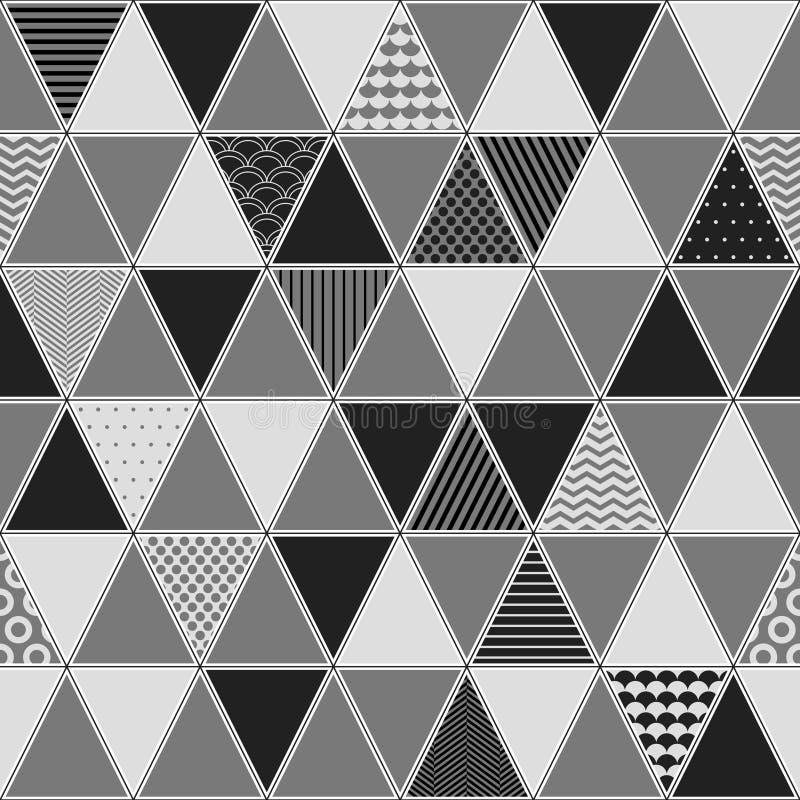 Svartvita mönstrade trianglar geometrisk sömlös modell, vektor royaltyfri illustrationer