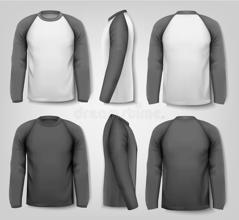 Svartvita manliga långa muffa skjortor stock illustrationer