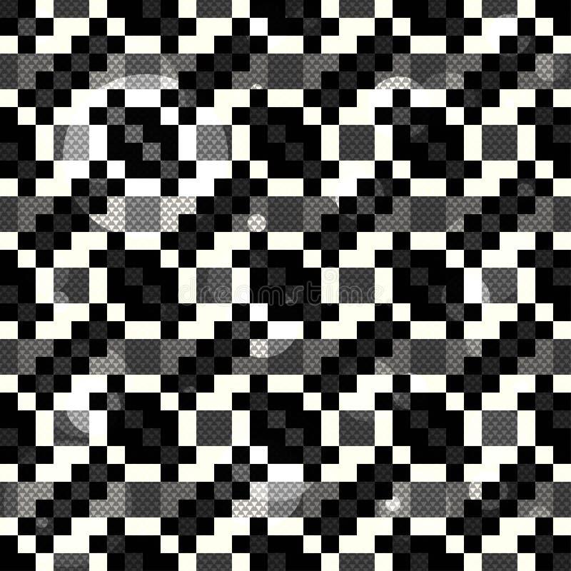 Svartvita PIXEL av polygoner gör sammandrag sömlös geometrisk bakgrund vektor illustrationer