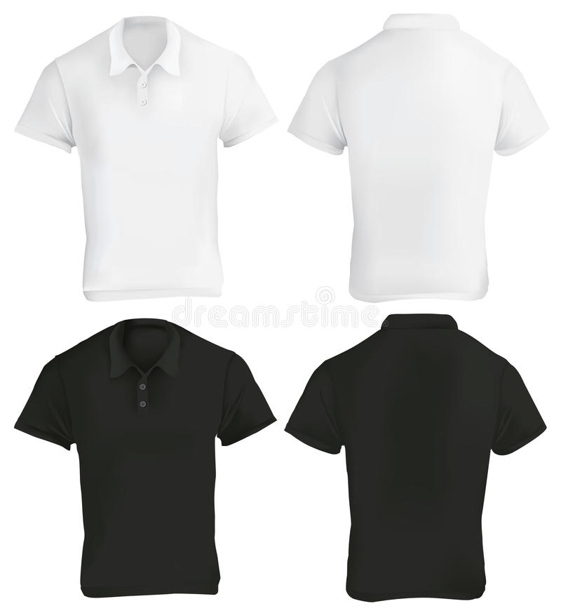 Svartvita Polo Shirt Design Template vektor illustrationer