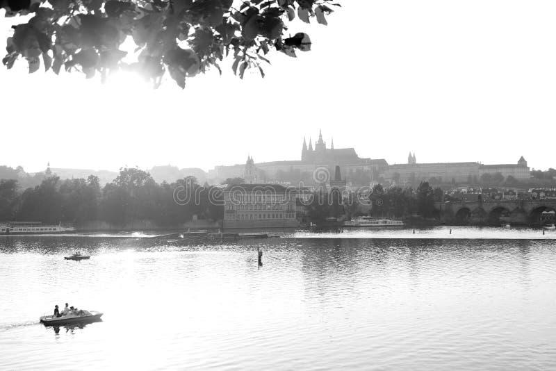 Svartvita Prague royaltyfria bilder