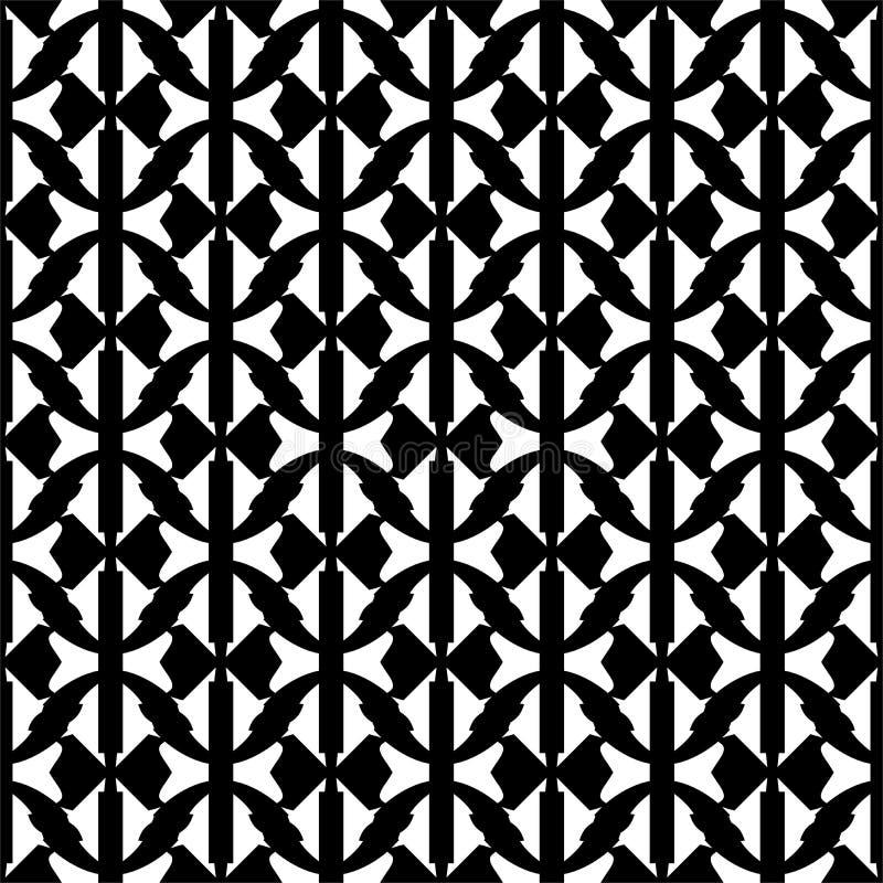 Svartvita sömlösa abstrakta linjer för vektor, geomteric former och lövrik modell vektor illustrationer