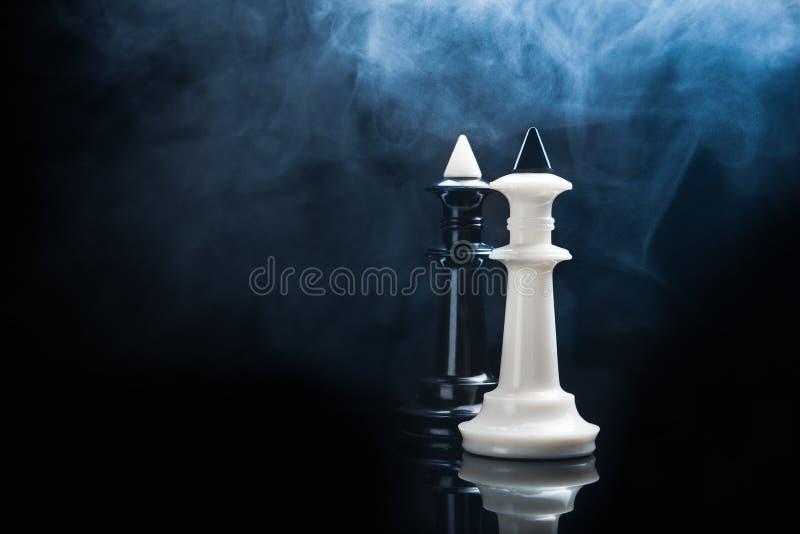 Svartvita schackkonungar royaltyfri foto